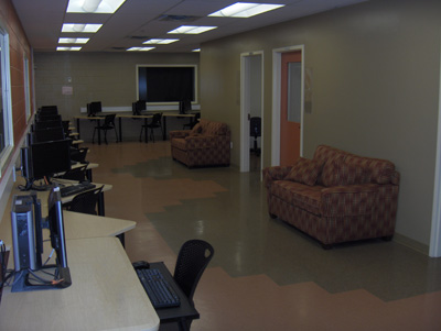 The newly renovated business computer lab