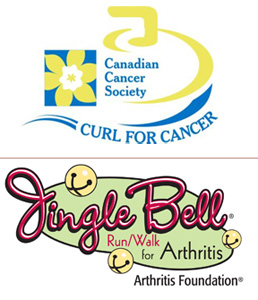 Curl for Cancer and Jingle Bell Walk/Run for Arthritis Logos