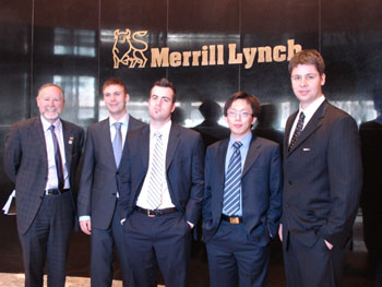 After placing first in the North American  round of the Global Research Challenge in New York City, Student  Investment Team members visit the Merrill Lynch trading floor. L-R:  Glenn Cleland (Director, Centre for Financial Studies and SIF  Instructor), Brian Bagnell, Dustin Besaw, Guofeng (Jack) Ma, and Jason  Misener.