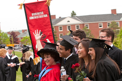 MBA students posing for a photo before the graduate parade and ceremony