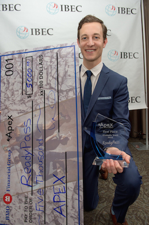 Alex Kall (MBA student and team leader) accepts first place prize for ReadyPass in the graduate track of the 2016 BMO Apex Business Plan Competition.