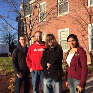 Members of the ReadyPass team (L-R) Alex Kall (MBA student and Activator Learder), Taeler Dixon and Anthony Colford (ReadyPass inventors), and Mahima Mathur (MBA student).