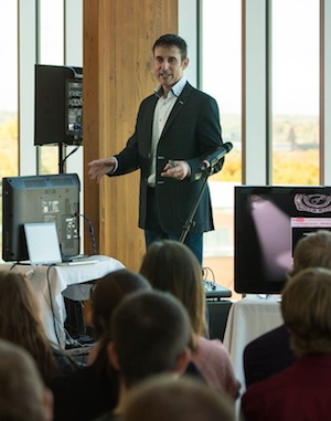 Social media legend Dave Carroll spoke to UNB's MBA Professional Development class.