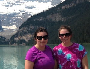 BBA student Kelly Sheehan (left) with her sister Jen. Kelly is finishing up an eight-month Co-op work term with Syncrude Canada Limited in Alberta.