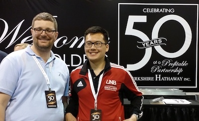Jeff Mott (left) and Ryan Chan (right) at the Berkshire Hatheway 50th Anniversary Shareholders annual general meeting.
