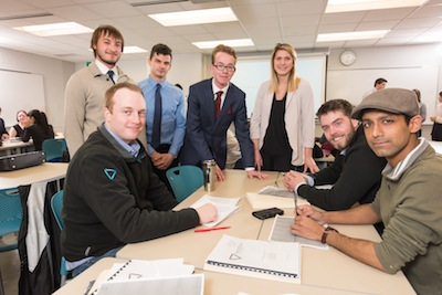 Sitting from left to right Resson Aerospace Executives:  CEO and Co-founder Peter Goggin; Project Manager Ben Flood; Co-founder and Principal Systems Engineer Rishin Behl. Standing from left to right students: Jack Fuller, Matthew Arnold, Markus Kretzschmar, Sarah Beaney.
