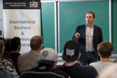 Sean Dunbar talked to students and faculty about his experiences with launching and running Northampton Brewery in Fredericton, NB.