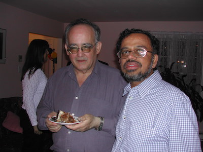 Francisco Arcelus (L) celebrating his retirement with friend and colleague, Gopalan Srinivasan.