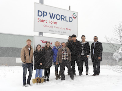 Mother nature envelops Dr. H. A. Eiselt (centre) and his logistics students during their field trip to DP World at the Port of Saint John.