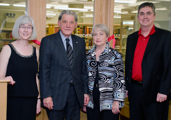 Janet Moss, Geard V. La Forest, C. Anne Crocker and Eddy Campbell, UNB president, at the official unveiling of the La Forest Rare Books Reading Room and the dedication of the C. Anne Crocker New Brunswick Legal Heritage Collection.
