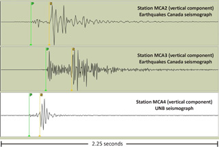 Seismograph reading taken in McAdam, New Brunswick, during earthquake research at UNB.