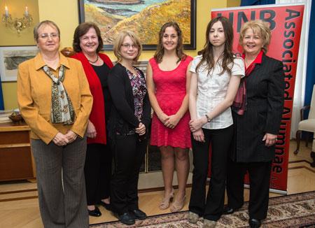 Left to right: Carmen Hambrook, student-award recipient; Diane Campbell, event host; Nikki Chapman, student-award recipient; Brittany LeBlanc, student-award recipient; Olga Mastikhina, student-award recipient; Karen Taylor, president of the Associated Alumnae.