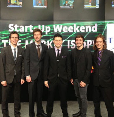 The Groupnotes team opening the Toronto Stock Exchange after winning Startup Weekend Toronto (L-R: Greg Connell, Jason Moore, Matthew Gardner, Graham Kennery and Mathieu Gosbee)