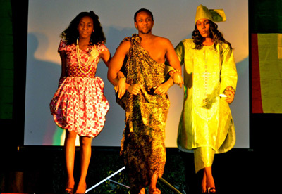 Students strut their stuff at last year's African night event.