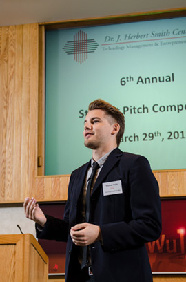 Student delivering his pitch at last year's competition.