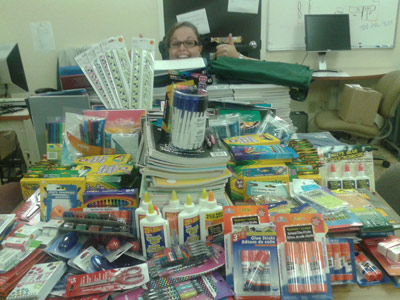 Students from Hazen-White St. Francis and Lorne Middle School received six full boxes of supplies for the coming year.