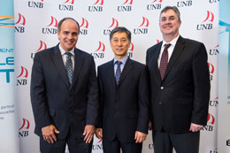 From left to right: NB Power President and CEO, Gaëtan Thomas; Professor of Electrical and Chemical Engineering Liuchen Chang; and, UNB President Eddy Campbell