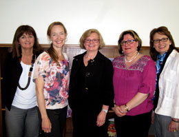 Members of UNB Saint John's Evidence Synthesis Group.  From left to right:  Dr. Rose McCloskey, Dr. Tracy Carr, Dr. Dianne McCormack, Dr. Lisa Keeping-Burke, Dr. Karen Furlong.  Missing from the photo:  Dr. Linda Yetman and Linda Hansen, Librarian.
