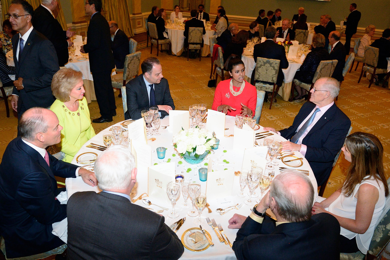 QEII Scholar, Jasmine Alam at the Governor General's table with other dignitaries