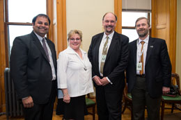 From left: Dhirendra Shukla, Director, J. Herbert Smith Centre; Francine Landry, Minister of Post-Secondary Education, Training and Labour; David Burns, Vice-President (Research) at UNB; and John Kershaw, Acting Associate Dean of Graduate Studies at UNB.