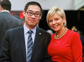 Alumnus Ji Li and Bonnie Sudul, International Student Advisor