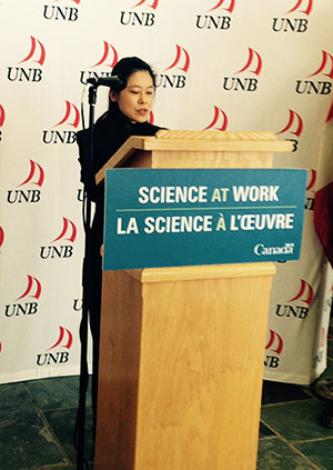 Dr. Ying Zheng speaks at NSERC funding announcement in Fredericton