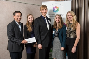 First place winners, Tempo, from left to right: Marc Savoie(presenting the award), Nicole Bendrich, Ryan MacDonald, Sophie Daigle, and Katie Wilson