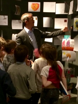 Col. Chris Hadfield with local students at UNB Art Centre's Postcards from Mars exhibit