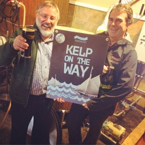 "Thierry Chopin (Scientific Director of the Canadian Integrated Multi-Trophic Aquaculture Network (CIMTAN), based at the University of New Brunswick in Saint John), left, and Sean Dunbar (owner of Picaroons Traditional Ales, based in Fredericton), right, tasting the new beer ""Kelp on the Way"" made with organically certified kelps cultivated at an IMTA site of Cooke Aquaculture Inc. in the Bay of Fundy (photo credit: Dennis Goodwin)."