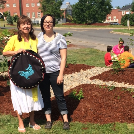 Elder-in-Residence, Imelda Perley and UNB Fredericton's Sustainability Coordinator, Danielle Smith, collaborated to make the Medicine Wheel Garden possible