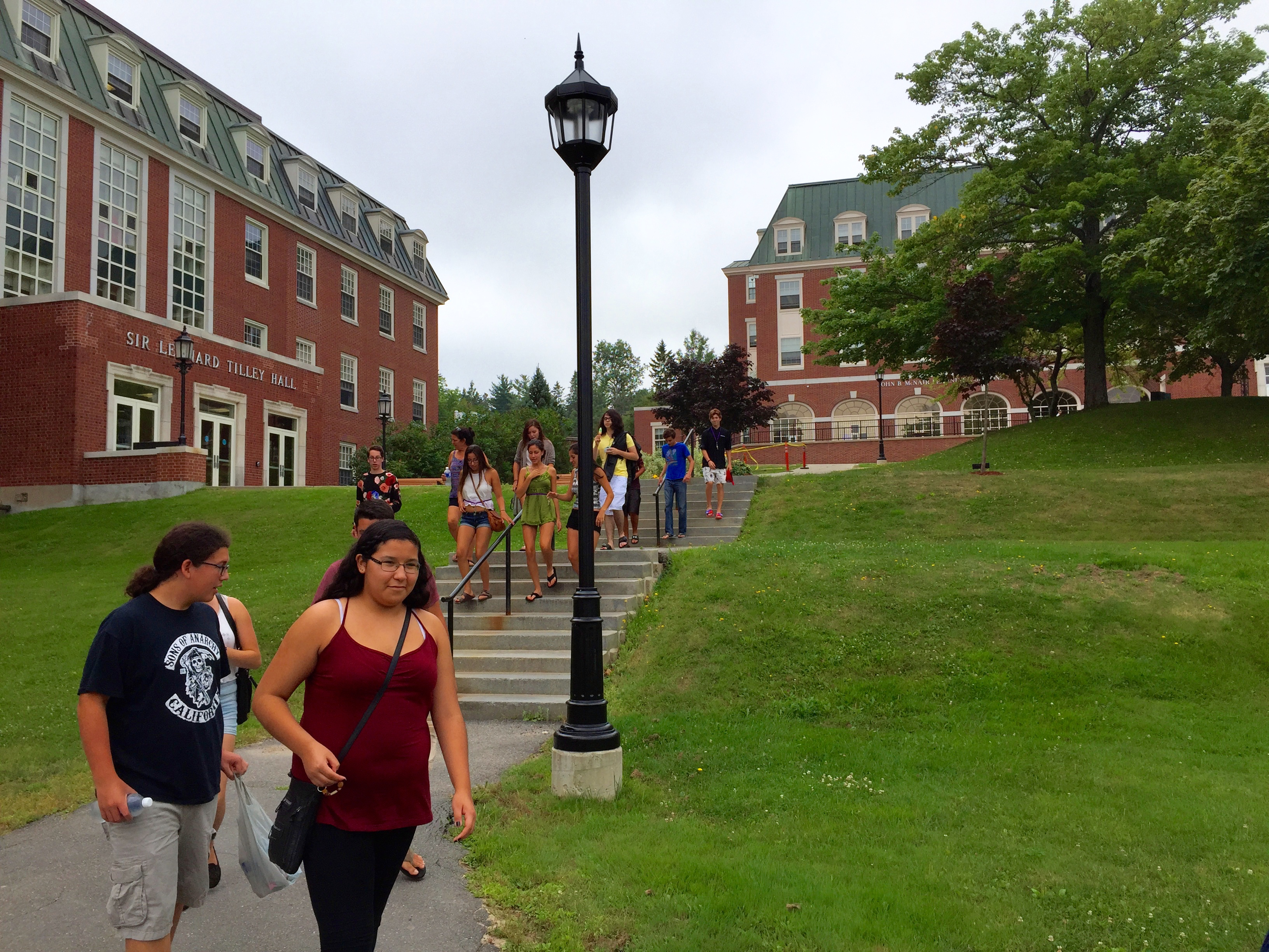 Aboriginal students from across the province exploring UNB's Fredericton campus.