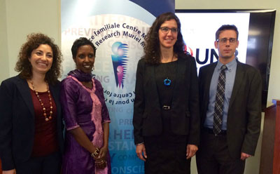 From left to right - Dr. Costanza Torri and Hyasinter Rugoro, project co-chairs, join Dr. Catherine Holtmann, director of the Muriel McQueen Ferguson Centre, and Alex LeBlanc, managing director of the New Brunswick Multicultural Council. Dr. Torri and Ms. Rugoro will bring first-hand experience as immigrant women to the coordinated response.