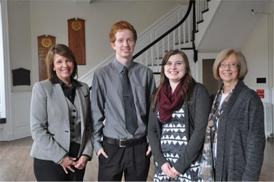 Colleen Baxter, vice-president human resources, J.D. Irving, Limited; scholarship recipients Kyle Woods and Randi Watson; and Jane Fritz, interim vice-president Fredericton (academic), UNB.