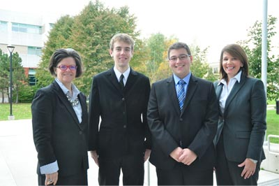 Laurelle LeVert, associate vice-president (Saint John), UNB; scholarship recipients Lucas Loughead and Kylor Doyle; and Colleen Baxter, vice-president human resources, J.D. Irving, Limited.
