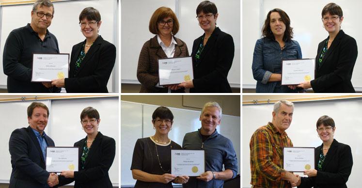 Clockwise from top left: John Johnson, Nancy Logue, Connie Stewart, Byron Walton, Phil Backman and Tim Alderson.