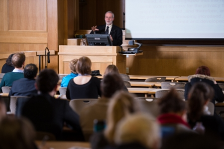 There are three events being held in memory of Ivan C. Rand at the University of New Brunswick. Here, Professor A. Wayne MacKay speaks at the 2014 Rand Lecture.