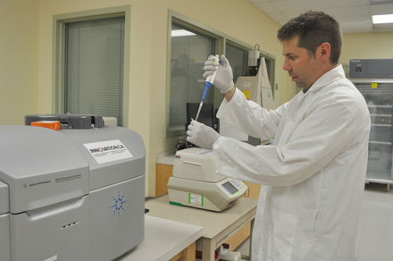 Dr. Scott Pavey at work in lab at UNB Saint John. Photo courtesy of Dr. Scott Pavey.