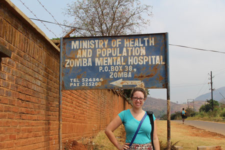 Cassandra Parsons, a fourth-year UNB science student studying mental health in Malawi.