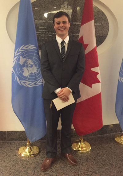 Third-year Renaissance College student, Alec Boudreau, arriving at the state dinner in Ottawa on Feb. 11.