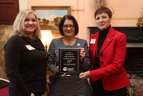 From left to right: Richelle Corey, manager, student accounts and receivables with financial services at UNB in Fredericton, Lieutenant Governor Jocelyne Roy-Vienneau, and Cindy Flann, director of financial services and assistant comptroller at UNB.