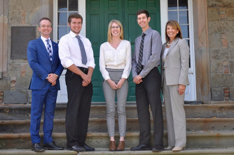 Dr. George MacLean, vice-president (academic), UNB Fredericton; Caleb Waite; Ashlyn Moody; Cameron Arthurs; Colleen Baxter, vice-president of human resources, JDI.