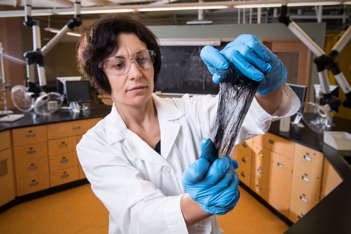 Dr. Anna Ignaszak, an associate professor of chemistry at UNB, is receiving federal funding that will help further develop a stretchable, flexible laminate that can provide power to a wide range of electronic devices. (Photo credit: Rob Blanchard / UNB Photo)