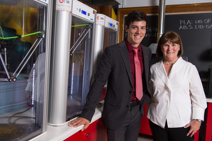 Edward Cyr, inaugural recipient of a McCain Foundation Postdoctoral Fellowship in Innovation at the University of New Brunswick, with Linda McCain, chair of The McCain Foundation. Dr. Cyr is working on futuristic applications in 3D printing. Credit: Cameron Fitch / Photo UNB.